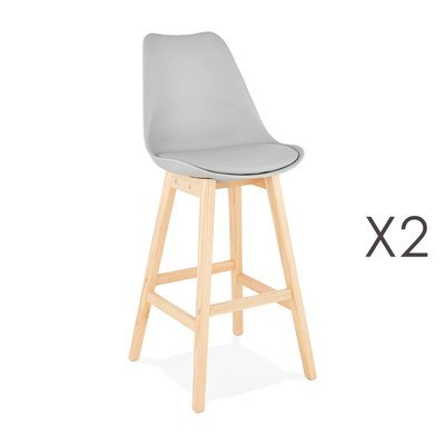 Lot de 2 chaises de bar design 48x112x56 cm gris - ELO