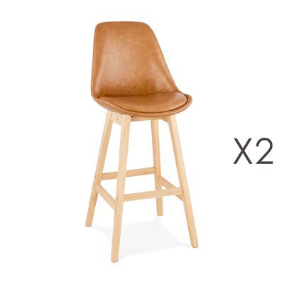 Lot de 2 chaises de bar design 48x112x56 cm marron - ELO