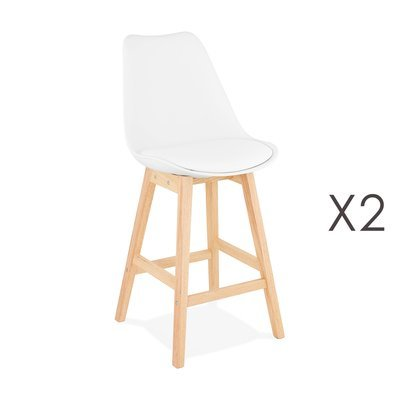 Lot de 2 chaises de bar design 48x102x56 cm blanc - ELO