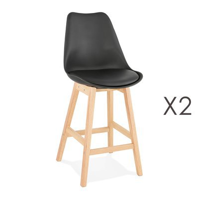 Lot de 2 chaises de bar design 48x102x56 cm noir - ELO