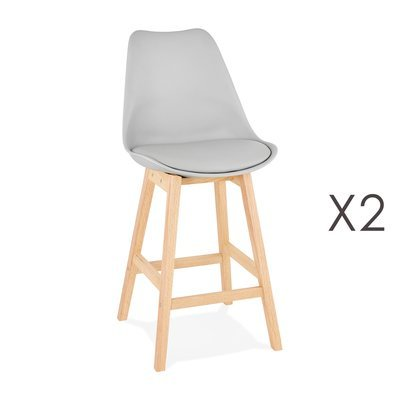 Lot de 2 chaises de bar design 48x102x56 cm gris - ELO