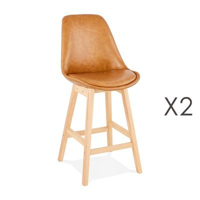 Lot de 2 chaises de bar design 48x102x56 cm marron - ELO