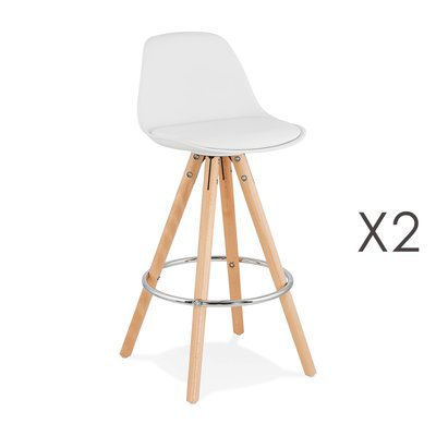 Lot de 2 chaises de bar blanc - LUCIE