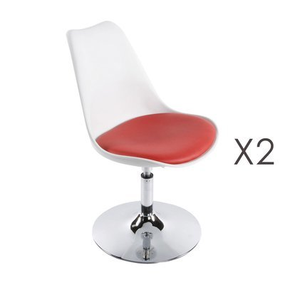 Lot de 2 chaise design 48x54x85 cm blanc et rouge - VIC