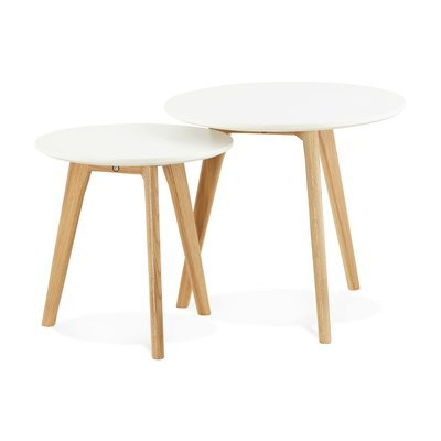Lot de 2 tables gigognes rondes en bois blanc et naturel - BALTIC