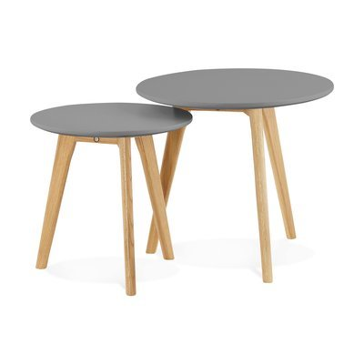 Lot de 2 tables gigognes rondes en bois gris et naturel - BALTIC