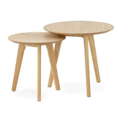 Lot de 2 tables gigognes rondes en bois naturel - BALTIC