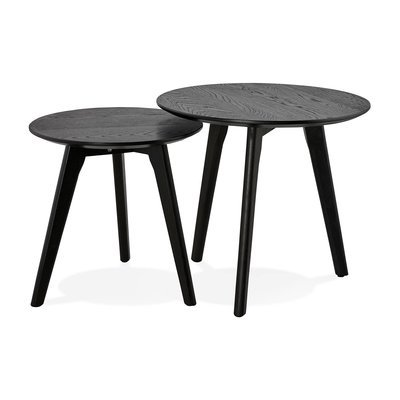 Lot de 2 tables gigognes rondes en bois noir - BALTIC