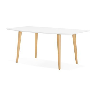 Table de repas extensible 170/270 cm blanc et naturel - BALTIC