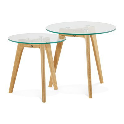 Lot de 2 tables gigognes rondes en verre et bois naturel - BALTIC