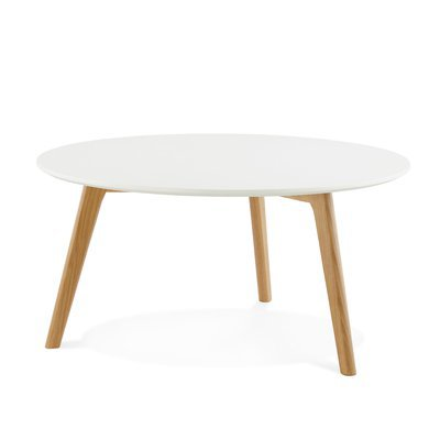 Table basse 90x90x45 cm en bois blanc et naturel - BALTIC
