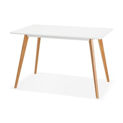 Table à manger 200x120x78 cm en bois blanc et naturel - BALTIC