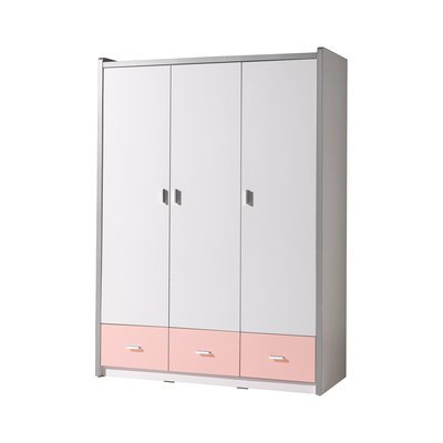 Armoire 3 portes 140,5x60x202 cm rose - ASSIA