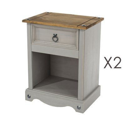 Lot de 2 chevets 1 tiroir 43x30x55 cm gris et naturel - SERGO