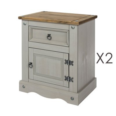 Lot de 2 chevets 53x38x66 cm gris et naturel - SERGO