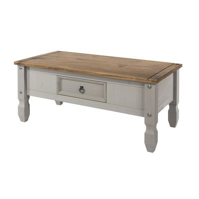 Table basse 1 tiroir 107x54x47 cm gris et naturel - SERGO