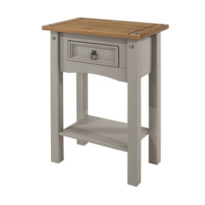 Table d'appoint 1 tiroir 55x34,5x70,5 cm gris et naturel - SERGO
