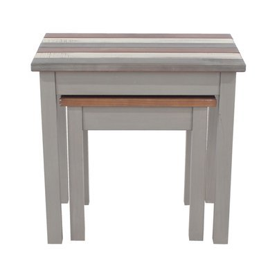 Lot de 3 tables gigognes gris blanc et naturel - SERGO