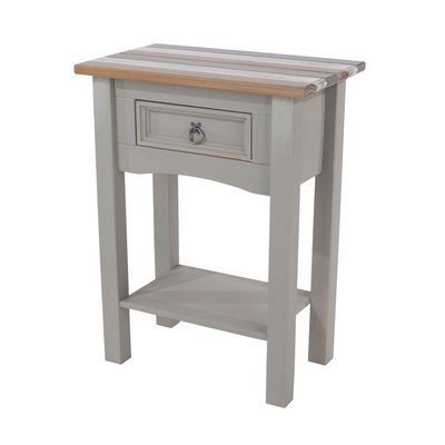 Table d'appoint 54,5x34,5x73 cm gris blanc et naturel - SERGO
