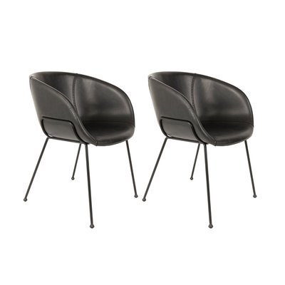 Lot de 2 chaises 56,5x55x77 cm en PU noir - FESTON