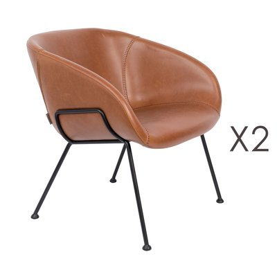 Lot de 2 fauteuils 70,5x65,5x72 cm en cuir camel - FESTON