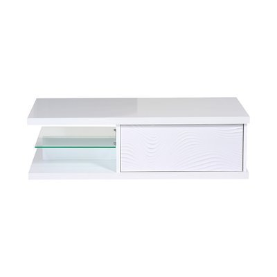 Table basse 120x60x37 cm blanc brillant - FLOYD