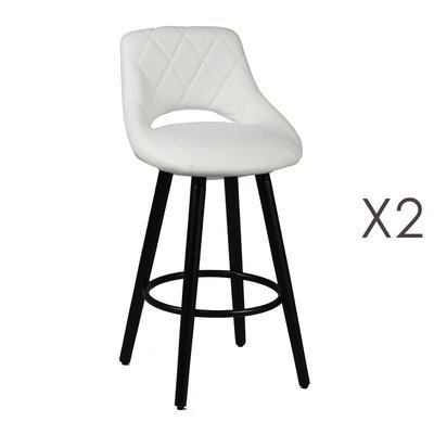 Lot de 2 tabourets de bar 47x47x91 cm blanc et anthracite - BROOKLIN
