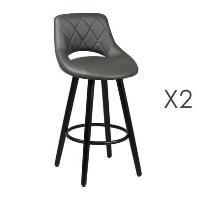 Lot de 2 tabourets de bar 47x47x91 cm gris et anthracite - BROOKLIN