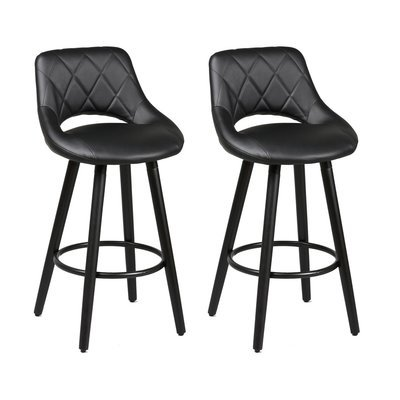 Lot de 2 tabourets de bar 47x47x91 cm noir et anthracite - BROOKLIN
