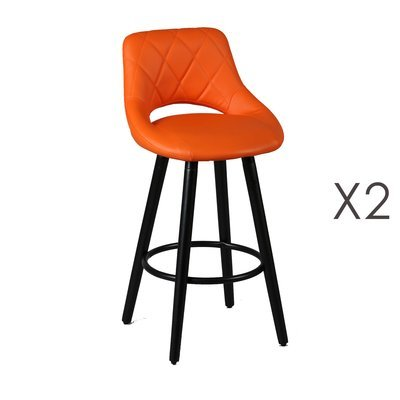 Lot de 2 tabourets de bar 47x47x91 cm orange et anthracite - BROOKLIN