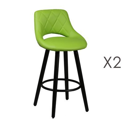 Lot de 2 tabourets de bar 47x47x91 cm vert et anthracite - BROOKLIN