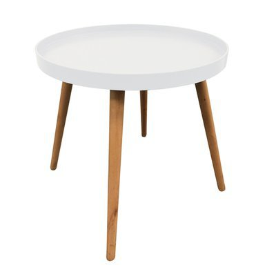 Table d'appoint ronde 50x50x44 cm en bois blanc - BALTIC