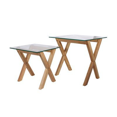 Lot de 2 tables gigognes rectangulaires en verre et bois - BALTIC