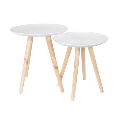 Lot de 2 tables basses rondes motif feuille en bois blanc