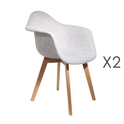 Lot de 2 fauteuils en maille grise - IDRIS