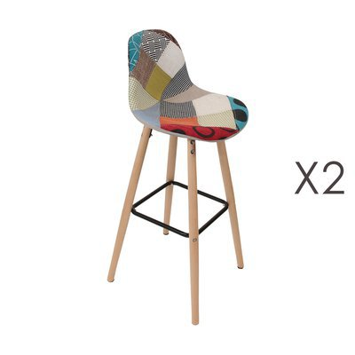 Lot de 2 tabourets de bar en tissu patchwork multicolore
