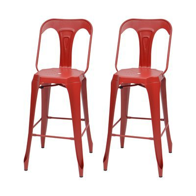 Lot de 2 chaises de bar en métal rouge - TALY