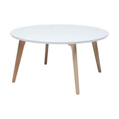 Table basse ronde 78x38 cm blanc et naturel - BALTIC