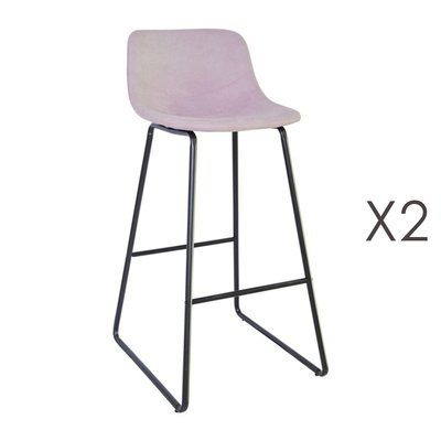 Lot de 2 tabourets de bar 55,5x45,6x99 cm en PU rose - PALMY