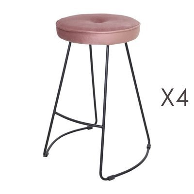 Lot de 4 tabourets de bar 45x50x68 cm en velours rose - TROGEN
