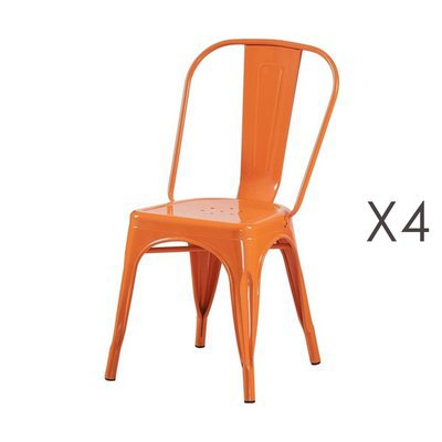 Lot de 4 chaises 35x35x84 cm en métal orange - ARTY