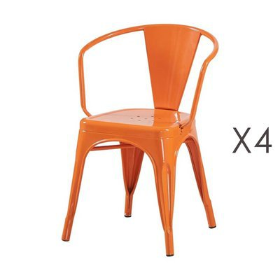 Lot de 4 fauteuils 36x36x73 cm en métal orange - ARTY