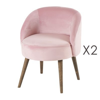 Lot de 2 fauteuils 54x54x64 cm en velours rose - HONY