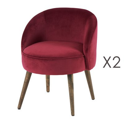 Lot de 2 fauteuils 54x54x64 cm en velours bordeaux - HONY