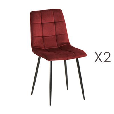Lot de 2 chaises 41x38x89 cm en velours bordeaux - PUNTY