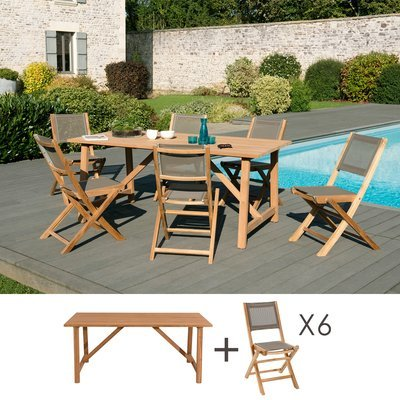 Ensemble en teck table 180x90 cm + 6 chaises pliantes- GARDENA