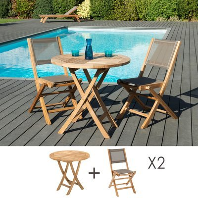 Ensemble en teck table ronde 80 cm + 2 chaises pliantes - GARDENA