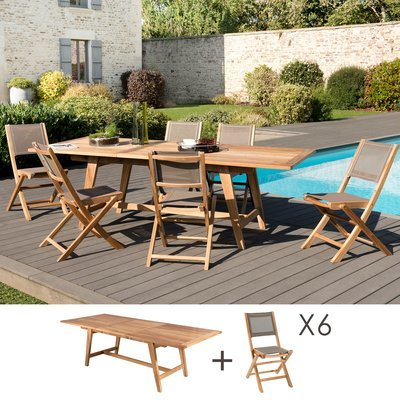 Ensemble en teck table 180/240 cm + 6 chaises pliantes - GARDENA