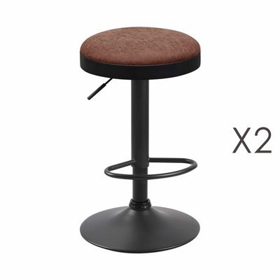 Lot de 2 tabourets en PU marron - ZARAY