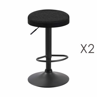 Lot de 2 tabourets en PU noir - ZARAY